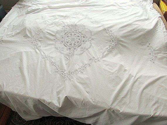 Vintage White Battenburg Lace Duvet Cover 88 Quot X 88 Quot Or Queen