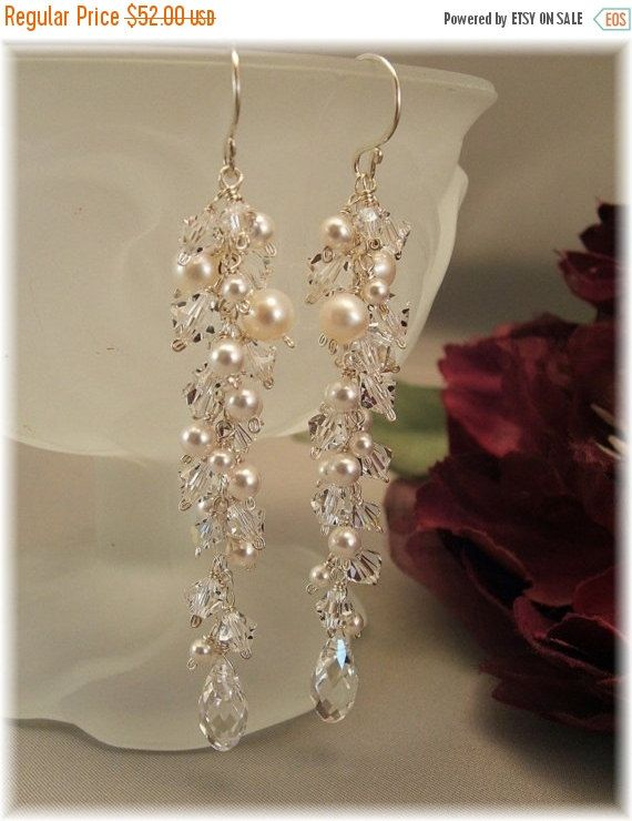 10% Off Through 10/30/15 Wedding Day Earrings, Icicle Pearl Earrings, Long Cascade Earrings, White Pearls and Clear Crystal