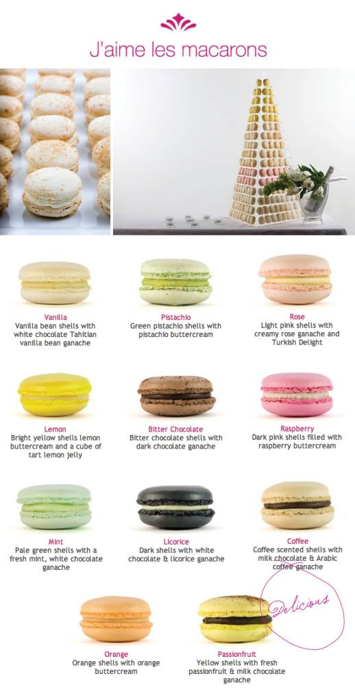 different macaron flavors
