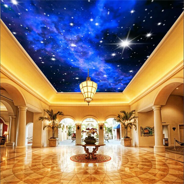 Free shipping large 3d mural wallpaper blue sky ceiling for Ceiling mural wallpaper
