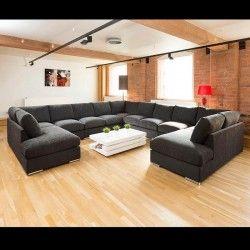 Extra Large Unique Sofa Set Settee Corner Group C Shape Black 4.0x4.0m
