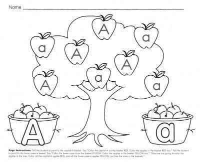 Aa Apple Tree Alphabet worksheets, Jolly phonics