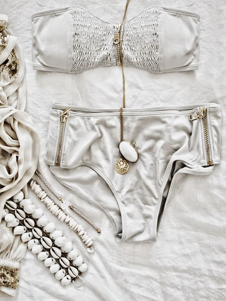 White high-waisted bikini with zipper details