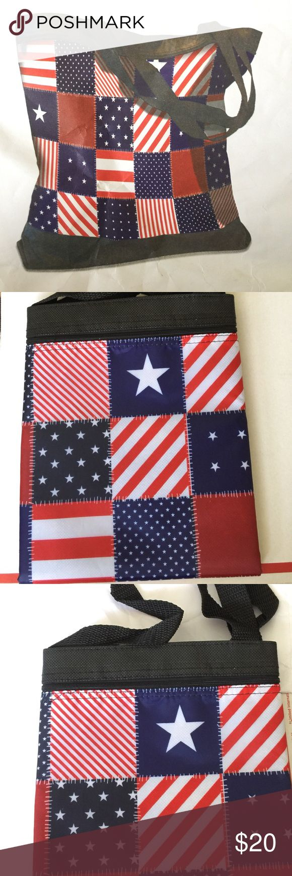 """HELP VETS 🇺🇸 PATRIOTIC TOTE BAG BRAND NEW 🇺🇸 Show your Patriotism with this 🇺🇸 patriotic patchwork totebag. Back side is solid black. Large Size - 16.5"""" wide x 15.5"""" long x 4""""  (Tote Shown Unfolded in Pic #1) Shoulder straps approximately 10"""" drop. Zips totally closed in complete front storage pouch and Velcro closures for more storage inside. Holds a Lot! Great for the beach⛱ or shopping 🛒 All proceeds donated to Veterans of America 🇺🇸 USA 🇺🇸 Swim"""