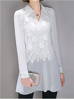 ericdress.com offers high quality  Ericdress Lace Patchwork  Blouse Blouses unit price of $ 24.29.