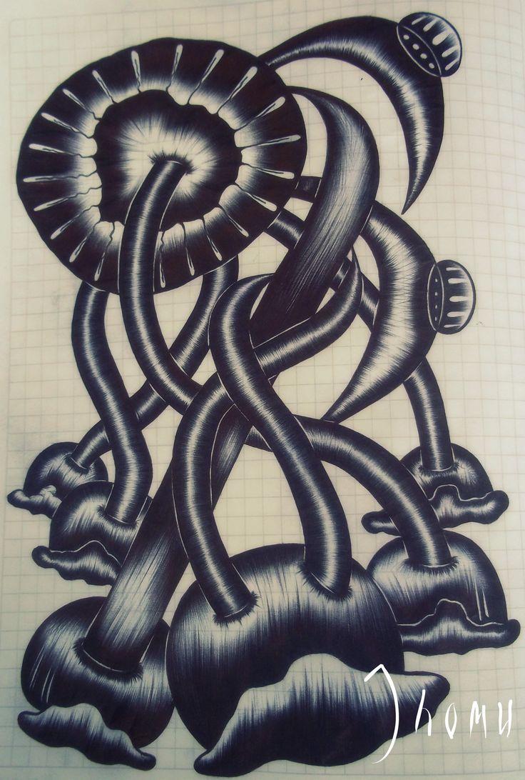 """""""Esferas"""" ENTRELAZADOS Bolígrafo Negro 29*21 cm."""