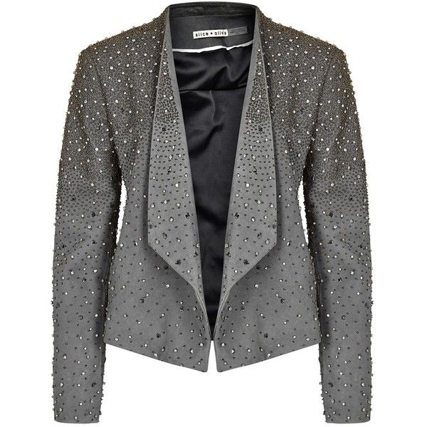 Womens Smart Jackets Alice + Olivia Oliver Grey Embellished Leather... (7.045 BRL) ❤ liked on Polyvore featuring outerwear, jackets, gray jacket, beaded leather jacket, leather jackets, olive green jacket and beaded jacket