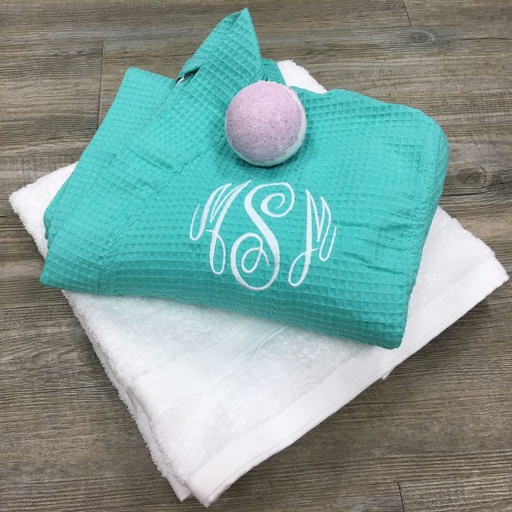 Monogrammed Spa Gift Set, Monogrammed Waffle Robe and Towel with Scented Bath Bomb. Perfect Mother's Day Gift, Bride and Bridesmaids Gifts or Grad Gift Set.