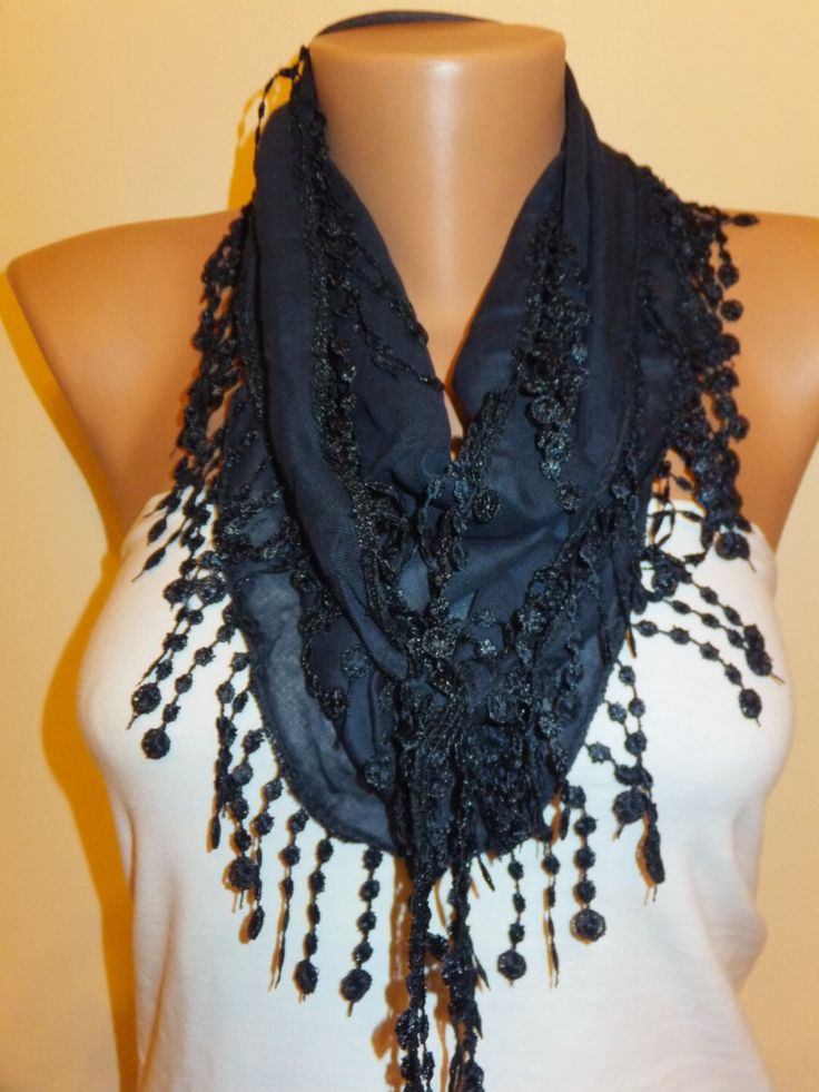 A personal favorite from my Etsy shop https://www.etsy.com/listing/179574485/dark-blue-lace-scarfwomens-fashiongift