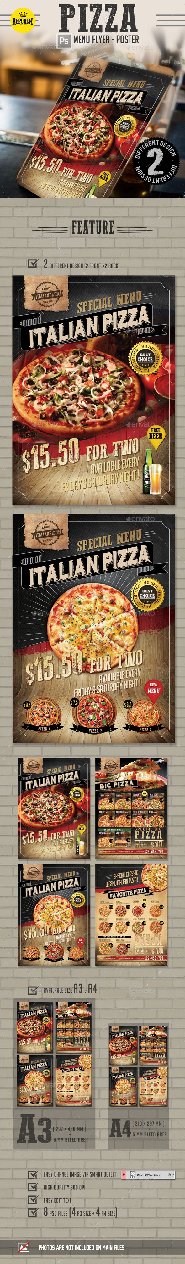 Pizza Menu Flyer Template PSD. Download here: http://graphicriver.net/item/pizza-menu-flyer-/15558970?ref=ksioks
