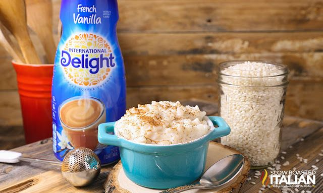 2 Ingredient Creamy Vanilla Rice Pudding: 1 c. Arborio rice, 2 cup water, 2 cup French Vanilla coffee creamer