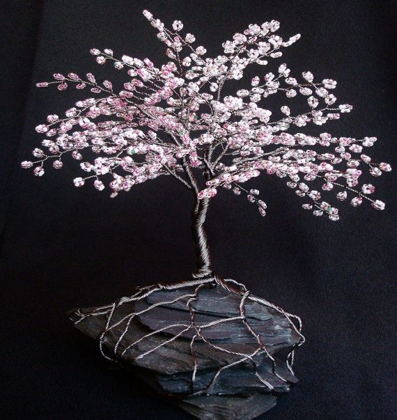 """Cherry Blossom Spring Colors Beaded Bonsai Wire Tree Sculpture 7"""" - MADE TO ORDER Custom. $115.00, via Etsy."""