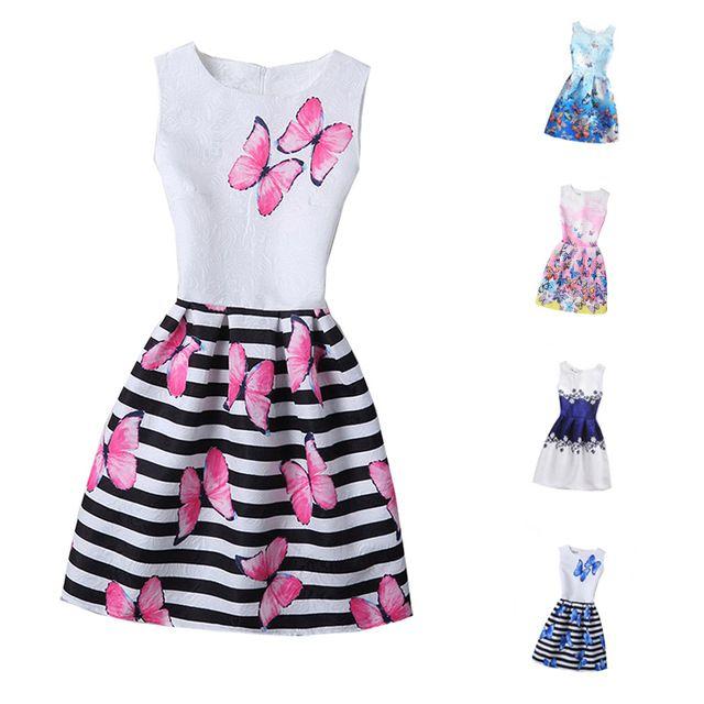 Verano 2017 Vestido de Las Muchachas Para Las Muchachas de La Mariposa Floral de Impresión Adolescentes Vestido De Fiesta Diseñador Formal Princesa Dress Kids Vestido 6-12Y