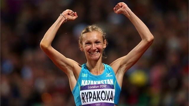 Gold medallist Olga Rypakova of Kazakhstan in the Women's Triple Jump celebrates…