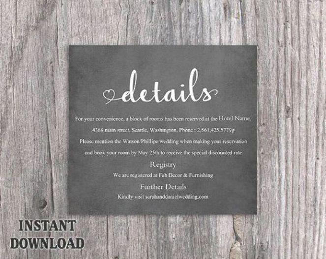 Diy Wedding Details Card Template Editable Word File Instant Download Printabl Wedding Details Card Beach Wedding Invitation Wording Simple Wedding Invitations