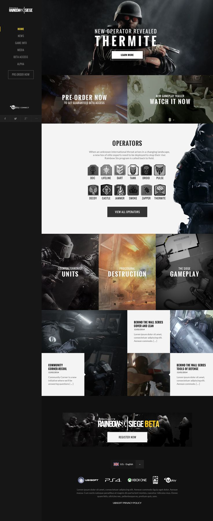 Rainbow 6 | ART OF SIEGE  #Ui #ux #mobile #layout #webdesign #grid #ubisoft #template