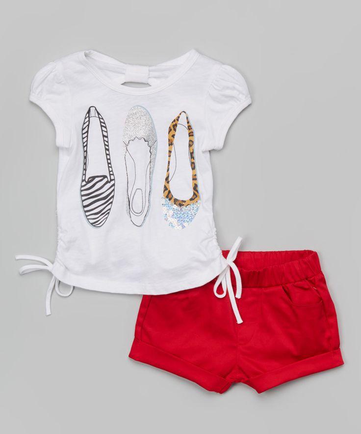 #Unik White Flats Tee & Red Shorts - Toddler & Girls   zulily