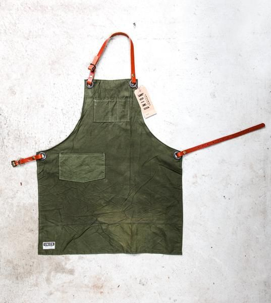 shop apron made from military canvas