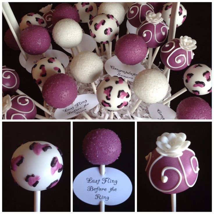 Last Fling Before the Ring Bachelorette Party Purple and Cheetah Cake Pops