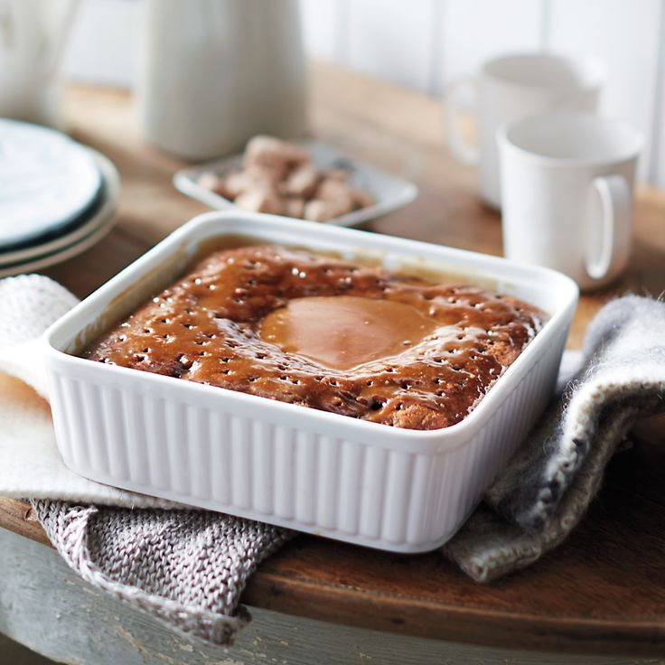 Martha Stewart's   Sticky toffee pudding is essentially a rich, moist cake permeated with a thick caramel-like sauce (with extra for serving). Most recipes say to soak the dates in hot water, but here we use coffee. It gives the pudding a surprising depth of flavor.