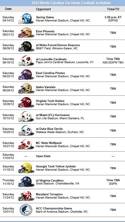 UNC Tarheels 2012 Football Schedule