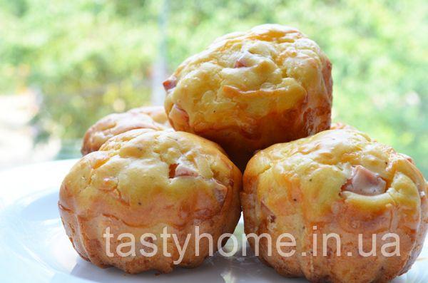 Закусочные кексы с ветчиной и сыром. Пошаговый рецепт с фото.