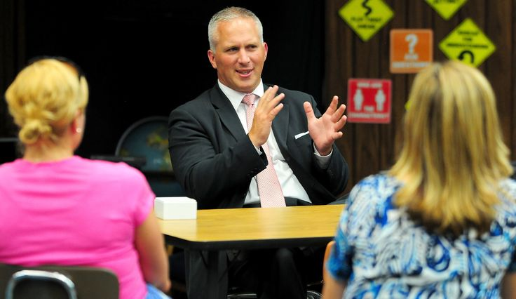 "New Logan School District Superintendent Frank Schofield speaks during a ""Meet the Superintendent"" event at Adams Elementary in Logan, Utah. (Photo by John Zsiray)"