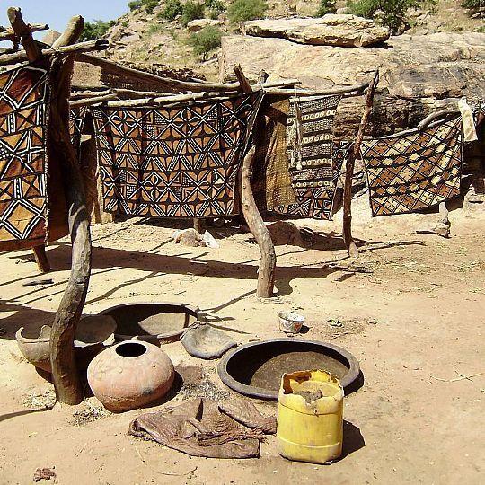 mud cloth drying in the sun, Mali