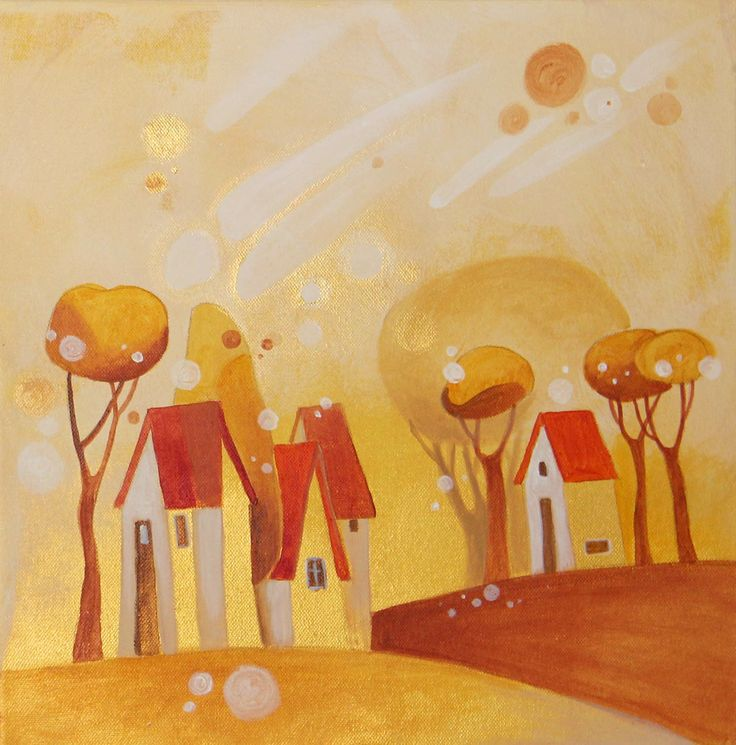 "Janka Stašková: ""Indian Summer II. / Babie leto II."" acrylic on canvas / 40 cm x 40 cm"