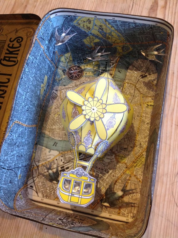 Hillaby's Pontefract Cake Diorama Tin with Hot Air Balloon by BonkersClutterbucks on Etsy