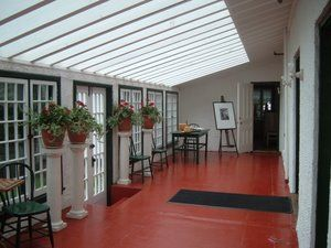 The sunroom of the Stephen Leacock house in Orillia, Ontario, CA.