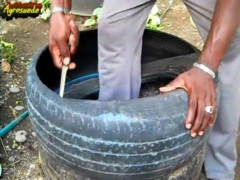 HOW TO CUT A TIRE TO MAKE A GARDEN RAISED BED/POTS: Agrosuede