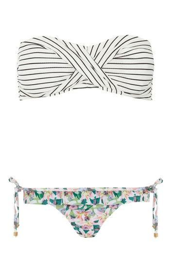 Mix and match bikini: Dorothy Perkins striped bandeau top and floral ruffle bottom
