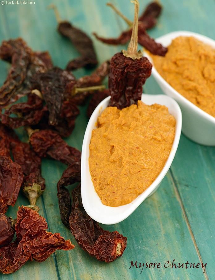 Mysore Chutney, South Indian Mysore Chutney recipe   Idli Recipes, Dosa Recipes   by Tarla Dalal   Tarladalal.com   #1657
