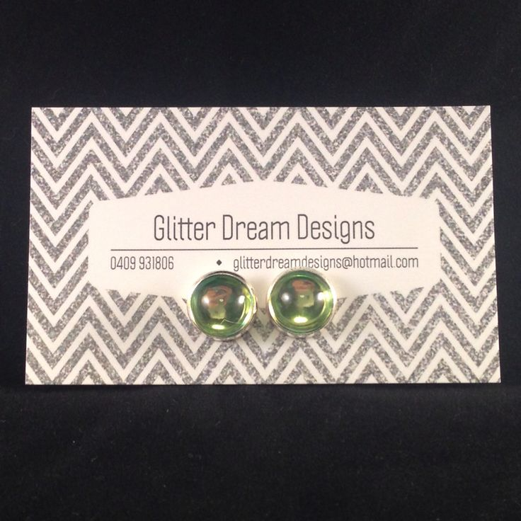 Order Code D11 Green Cabochon Earrings