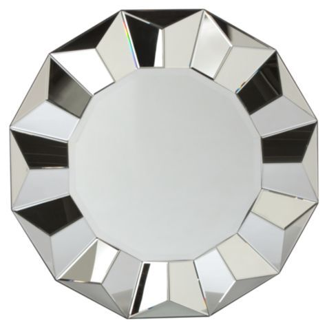 Dimensions:  Inside Mirror: 24.5 DIA  Overall: 39.5 DIA x 2.5D  Molding: 7.5 W x 2.5D  Package: 44W x 44H x 5.5D