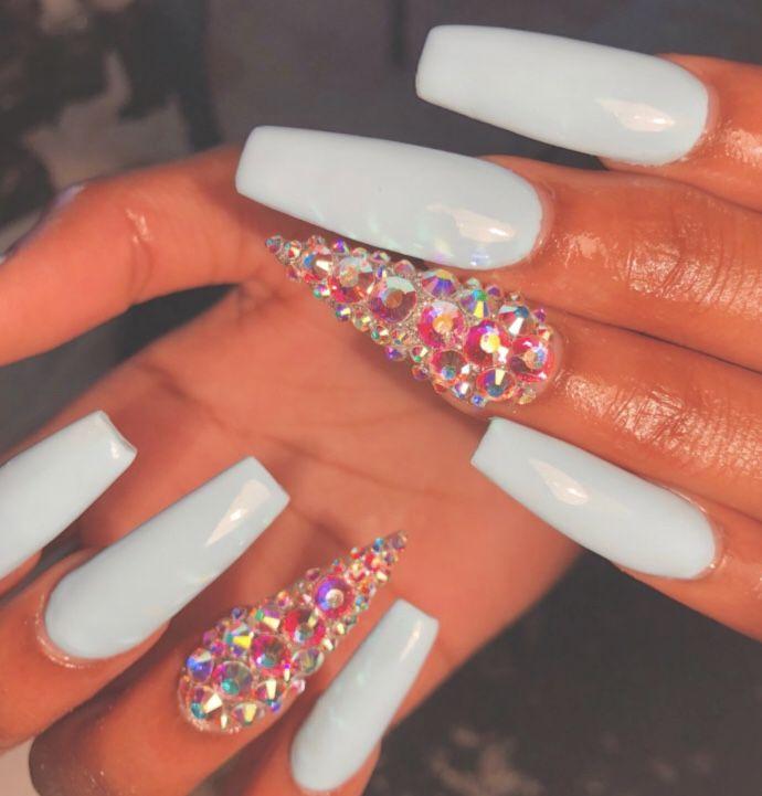 Follow Tryyveaytyѕ For More Rorrin Pins Long Acrylic Nails Rhinestone Nails Nails