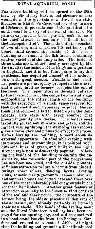 Description of the original Bondi Aquarium on the site of Wonderland City, Tamarama. Freeman's Journal 24 September 1887, page 9