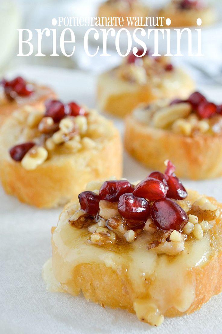 Pomegranate Walnut Brie Crostini