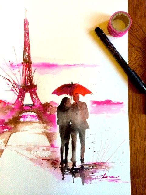 New Original Watercolor Inspired My Recent Trip In Paris Lana Moes