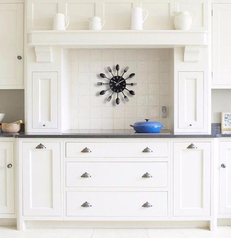 Cabinet Refacing Colors: Time To Eat! Wall Clock - 5 Colors In 2019