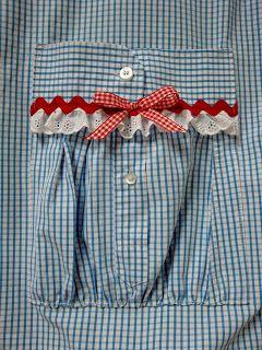 Pocket made from a men's upcycled dress shirt.  Cutie Pinwheel