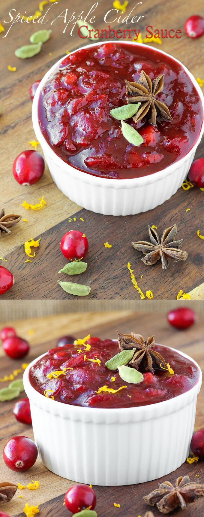 Break out of the cranberry rut with this Spiced Apple Cider Cranberry Sauce  An easy recipe for any night or your holiday feast!