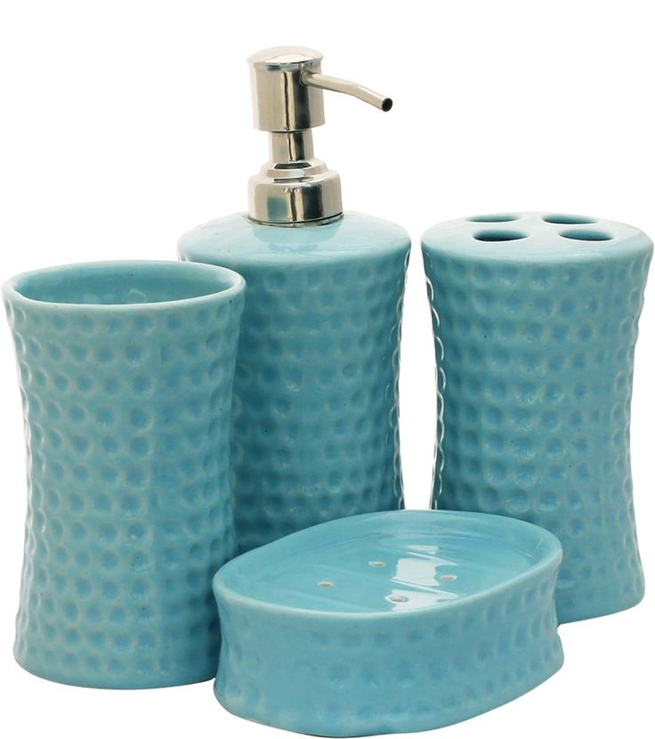 source bulk handmade set of 4 bathroom accessories in hammered textured blue color from wholesale distributors in indiadecorative soap dish tumbler - Bathroom Accessories Distributors