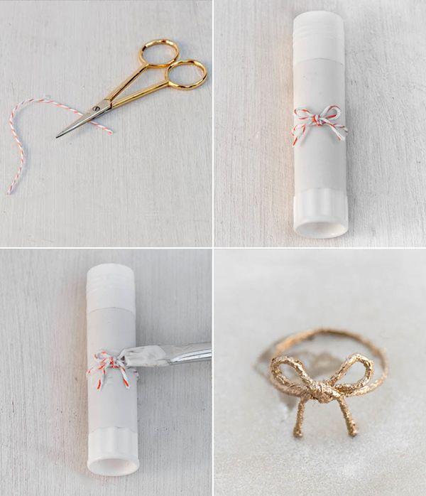 anillo de cuerda, nudo, lazo... Cuerda,pintura y esmalte.  http://www.ohthelovelythings.com/search/label/diy?max-results=20