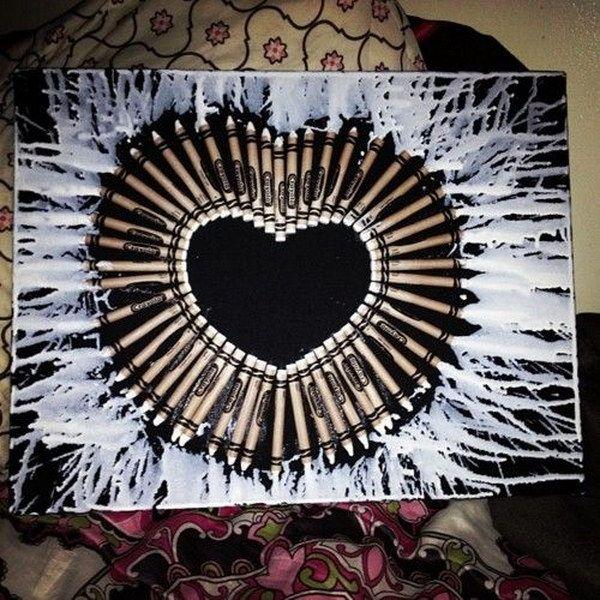 Melted Heart Crayon Art.