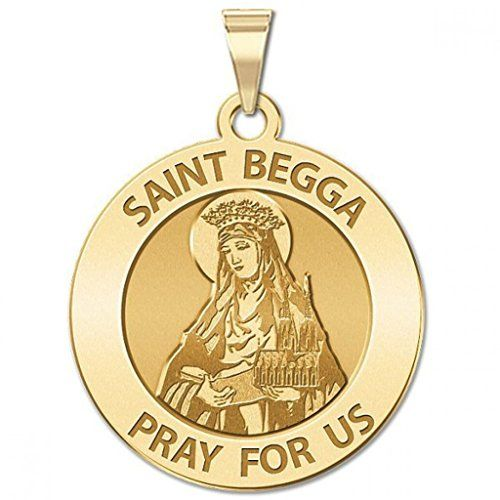 CHAIN IS NOT INCLUDED Available in Solid 14K Yellow or White Gold or in Sterling Silver Size Reference: 17mm is the size of a US dime 21mm is the size of a US nickel 24mm is the size of a US quarter Saint Begga (also Begue) (615 December 17 693) was the daughter of Pepin of Landen mayor of the palace of Austrasia and his wife Itta. On the death of her husband she took the veil founded several churches and built a convent at Andenne on the Meuse River (Andenne sur Meuse) where she spent the…