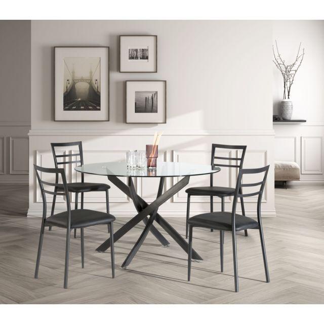 Rue Du Commerce Ensemble Table Ronde 4 Chaises 120 Cm Noir I 5939 Ne Salle A Manger Table Carree Table A Manger Noire Table Salle A Manger