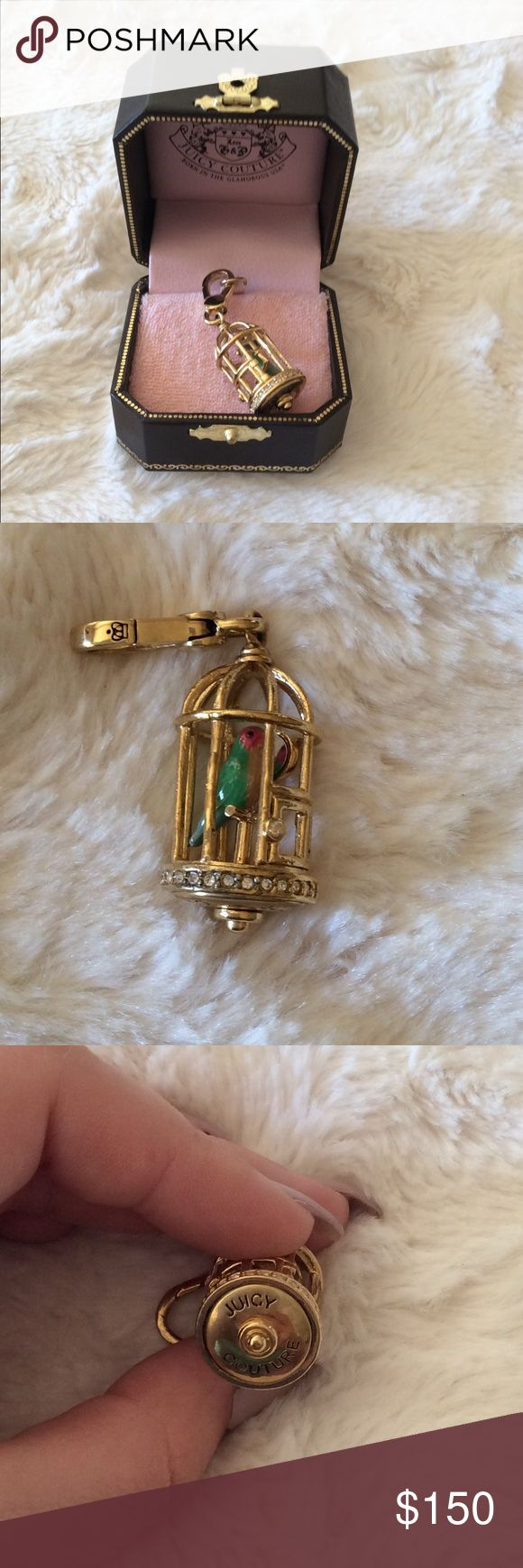 RARE Juicy Couture Birdcage Charm 100% authentic Rare 2009 Juicy Couture birdcage charm. All rhinestones in tact. In great condition. Comes with original box. No trades Juicy Couture Jewelry Bracelets