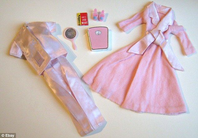 "Slumber Party Barbie (1965) came with a bathroom scales set to 110lbs, a diet book ""How to Lose Weight"" (the back says ""DONT'T EAT""), a mirror, pink slippers, and pink silk pajamas. SAD @Sarah Dragovich"